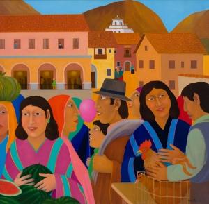 Mercato dipinto di Mario Tapia